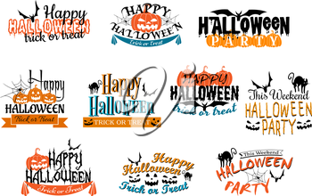 Different Halloween party designs for Happy Halloween parties decorated with bats, pumpkin lanterns, spiders, black cat, ghosts, ghouls with various texts, vector illustration on white