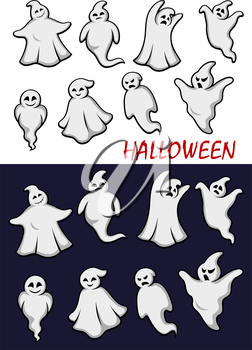 Cute cartoon  Halloween ghosts in flowing white robes in different scary poses with different expressions in two color variants on white and a dark background