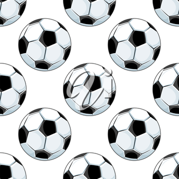 Seamless background pattern of black and white footballs or soccer balls in square format with a repeat motif for sporting design