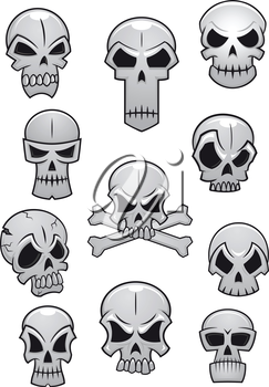 Human skulls set for Halloween holiday design isolated on white background