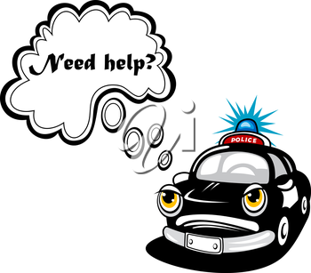 Cartoon police car character with face, mouth, eyes and comics speech bubble