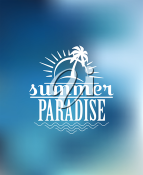Beach poster design with sun, sunshine, waves, palm, sky, birds and text  Summer Paradise. For journey, travel, adventure, tourism or logo design