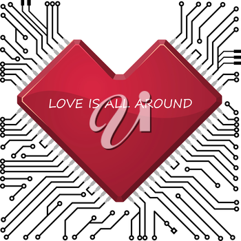 Circuit board with stylized as heart chip. For high-tech,  technology, engineering and electronics or valentine  design