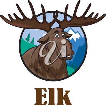 Cute funny cartoon smiling moose or elk with a big horns and mountain landscape. For wildlife design