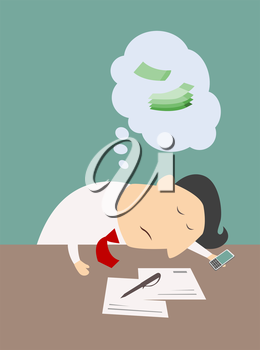 Exhausted businessman asleep at his desk with a thought bubble showing money dream, cartoon vector illustration