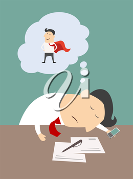 Exhausted businessman asleep at his desk in the office dreaming of being a super hero, vector cartoon illustration