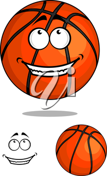 Grinning happy cartoon basketball ball character for sports and mascot design, vector illustration