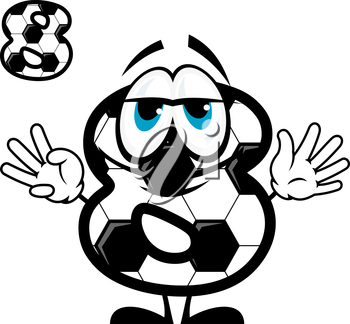 Cute cartoon number eight character coloring like football or soccer ball showing 8 fingers for sport competition design