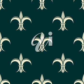 French seamless pattern with fleur de lys flowers for retro and medieval design