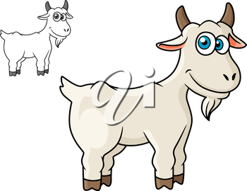 Cartoon horned farm goat isolated on white background for agriculture or fairytales design