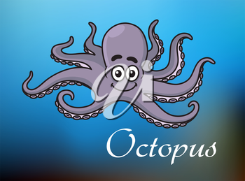 Smiling cute violet cartoon baby octopus character swimming in blue sea with white caption Octopus for childrens book, party and lessons design