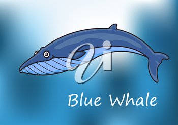 Cartoon blue whale swimming underwater with dappled sunlight and the text Blue Whale below