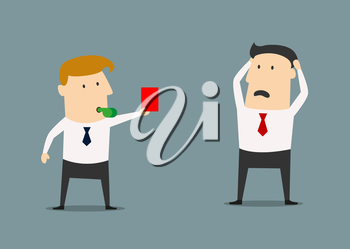 Manager showing a red card to a horrified businessman, who holding his head in his hands, flat style illustration