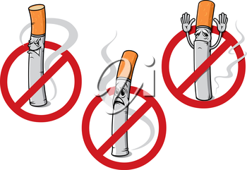 Cartoon no smoking signs depicting dismayed, angry or surrendering cigarettes with curling smoke