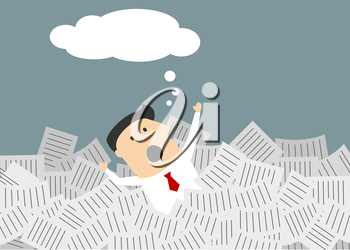 Businessman drowning in a sea of paperwork raising his arms for help with a blank empty thought or speech bubble above