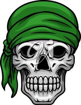 Cartooned scary skull with sullen bared teeth in green bandana isolated on white background for halloween party or t shirt print design