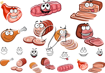 Meat products cartoon characters with smiling sliced sausages, roast beef, chicken and pork gammon suitable for butcher shop or food pack design