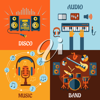 Music, audio, disco, band flat icons with music instruments, microphone and headphone surrounded notes, recording studio equipment and stereo system with sound waves