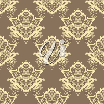 Vintage seamless paisley floral pattern with dainty beige contoured persian flowers on light brown background for wallpaper or textile design