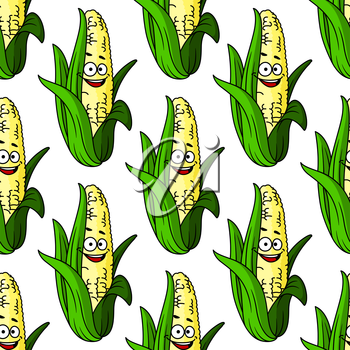 Ripe corn seamless pattern for agriculture or natural food concept design
