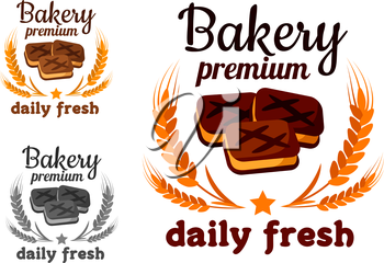 Bakery emblem with fresh cookie, text and cereal ears isolated on white