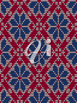 Red and blue embroidery seamless pattern in scandinavian style with large repeat floral motifs and stitch design in a geometric pattern