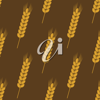 Seamless background pattern of ripe golden ears of wheat or barley on a brown background in square format