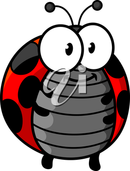 Ladybug cartoon character showing cute smiling red and black spotted bug with little legs, funny antennas and googly eyes for childish decor design