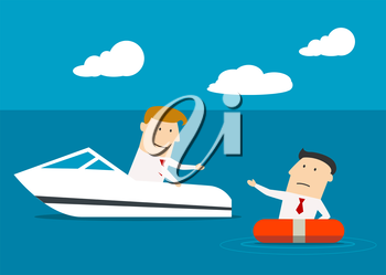 Businessman in a boat rescuing a businessman floating in a life buoy,  as a concept of cooperation big and little business