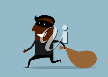 Joyful african american thief in black mask running away from the pursuit dragging sack with loot, suited for criminal or theft concept design. Cartoon flat style