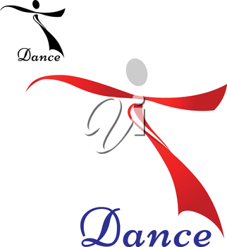 Dancing woman icon or symbol design with red silhouette of dancing woman isolated on white background with smaller black variant