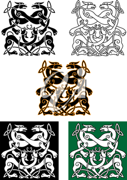 Celtic mythical dogs and wolves ornaments in tribal style, for religious, tattoo or culture design