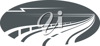 Highway, road or pathway concept with an oval gray icon of winding freeway with side rail