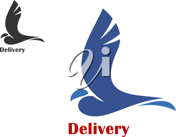 Fast delivery concept with a stylized silhouette of a flying bird in two color variations