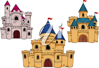 Fairytale fortified castles with watchtowers, turrets, roofs and red flags for childish interior or book design. Cartoon style
