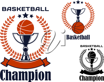 Basketball game champion emblems with balls, trophy cups, decorated heraldic laurel wreaths, stars on tops and ribbon banners