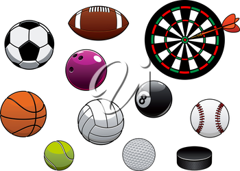 Equipments and sport items with dartboard, hockey puck and football or soccer, rugby, basketball, volleyball, tennis, golf, baseball, billiards and bowling balls