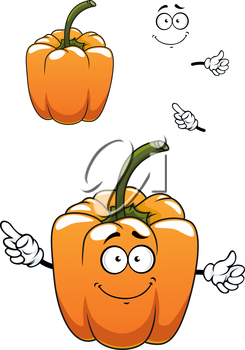 Orange bell pepper vegetable cartoon character with ribbed sides and long green stalk, for healthy food