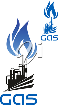 Natural gas industrial processing and distribution icon with plant machinery, pipelines, flare stack and blue flame isolated on white background
