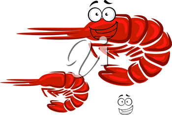 Red shrimp cartoon character with curved tail and happy smiling face for seafood or restaurant menu design