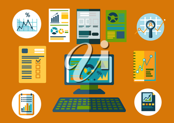 Business planning and financial reports flat icons with desktop computer, notebooks and papers with financial graphs or charts , supplemented by notes, agenda list and magnifying glass