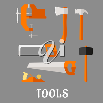 Carpenter and DIY tool flat icons with axe, hammer, hand saw, claw hammer, bench vice, jack plane and hacksaw with text Tools below, for industrial design