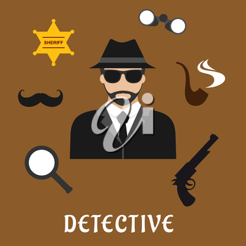 Detective profession flat icons with bearded man in black hat and sunglasses, encircled by binoculars, pipe, magnifier, gun, sheriff star badge and fake moustache