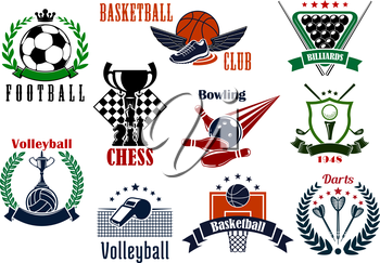 Sport game emblems and icons of football and soccer, basketball and darts, golf and volleyball, bowling, billiards and chess symbols. Adorned by sport items, trophies and heraldic elements