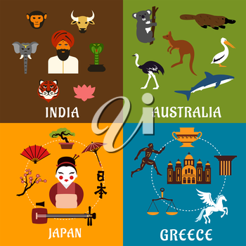 Culture, history, landmarks and nature of India, Greece, Japan and Australia. Flat travel icons with native and sacred animals, ancient architecture, mythology and traditions