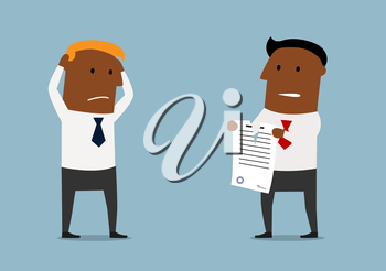 Cartoon angry black businessman tearing apart a contract in front of his business partner, for contract or agreement determination concept design