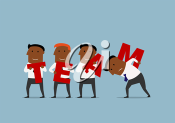 Happy cartoon team of african american businessmen are carrying big red letters to connect the word Team. Business team, teamwork and partnership concept