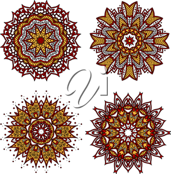 Bright red circular ornament with floral motif of yellow pointed petals, adorned by wavy lines, curlicues and swirls. Interior textile, tile and carpet pattern design usage