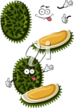 Funny cartoon exotic tropical durian fruit with dark green spiky peel and sweet yellow flesh. Healthy vegetarian dessert, recipe book or menu design usage