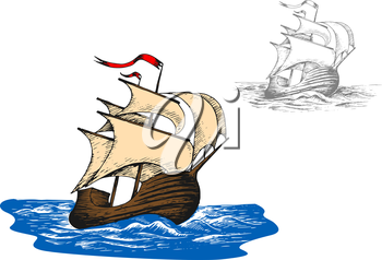 Ancient sail ship in blue ocean waves. Sketch style vector illustration. Discovery and adventure theme